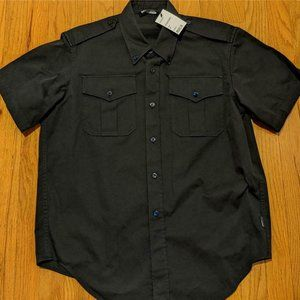 Balenciaga Twill Military Short Sleeve Sport Shirt